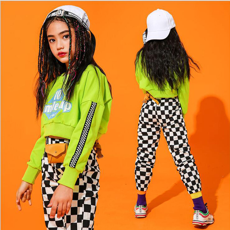 Girls Sweatshirt Pants Jazz Ballroom Dancing Outfits Stage Concert Clothes Kids Concert  Hip Hop Clothing Suits Dance Costumes