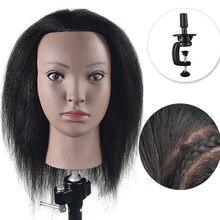 Cabeça de manequim para cosmetologia, cabeça de manequim com cabelo para treinamento de cabeça