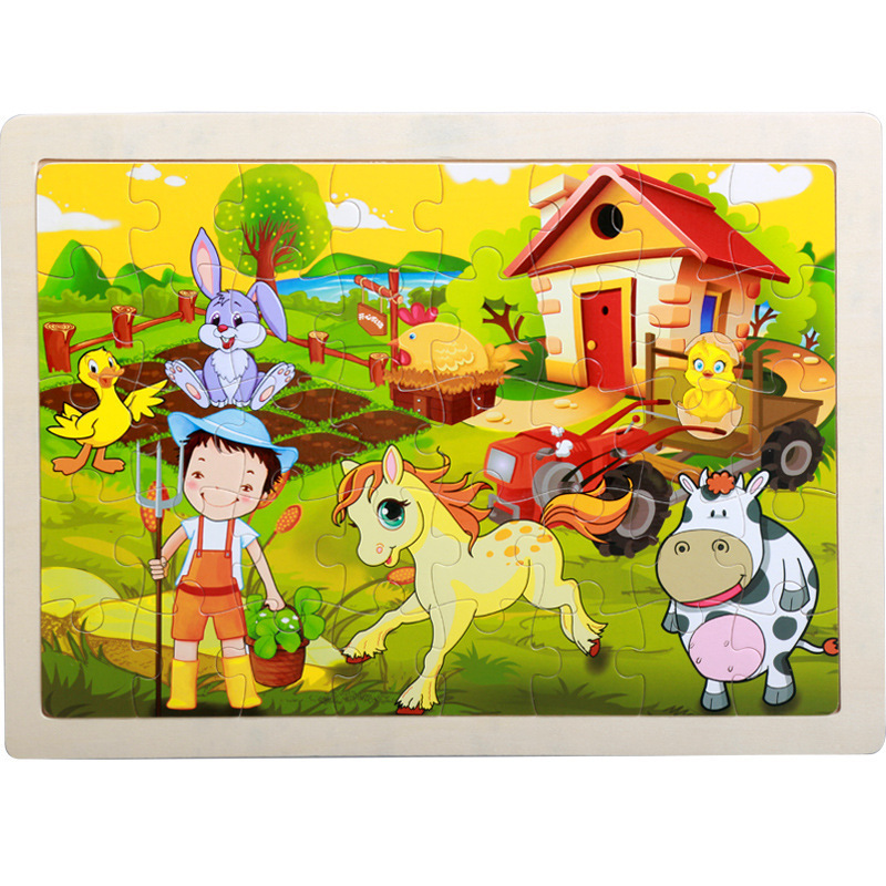 High Quality Size 22.5*30 Cm Wooden Large 40 Piece Cartoon Animal Baby Puzzle Children Wooden Educational Toys Girl Boy
