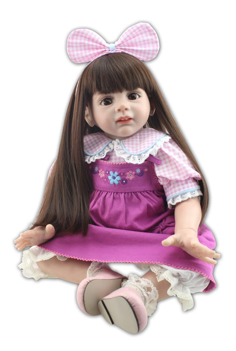 Npk collection 24''60cm soft cloth body Fridoli reborn toddler girl with purple skirt pink doll baby silicone reborn baby doll adorable soft cloth body silicone reborn toddler princess girl baby alive doll toys with strap denim skirts pink headband dolls