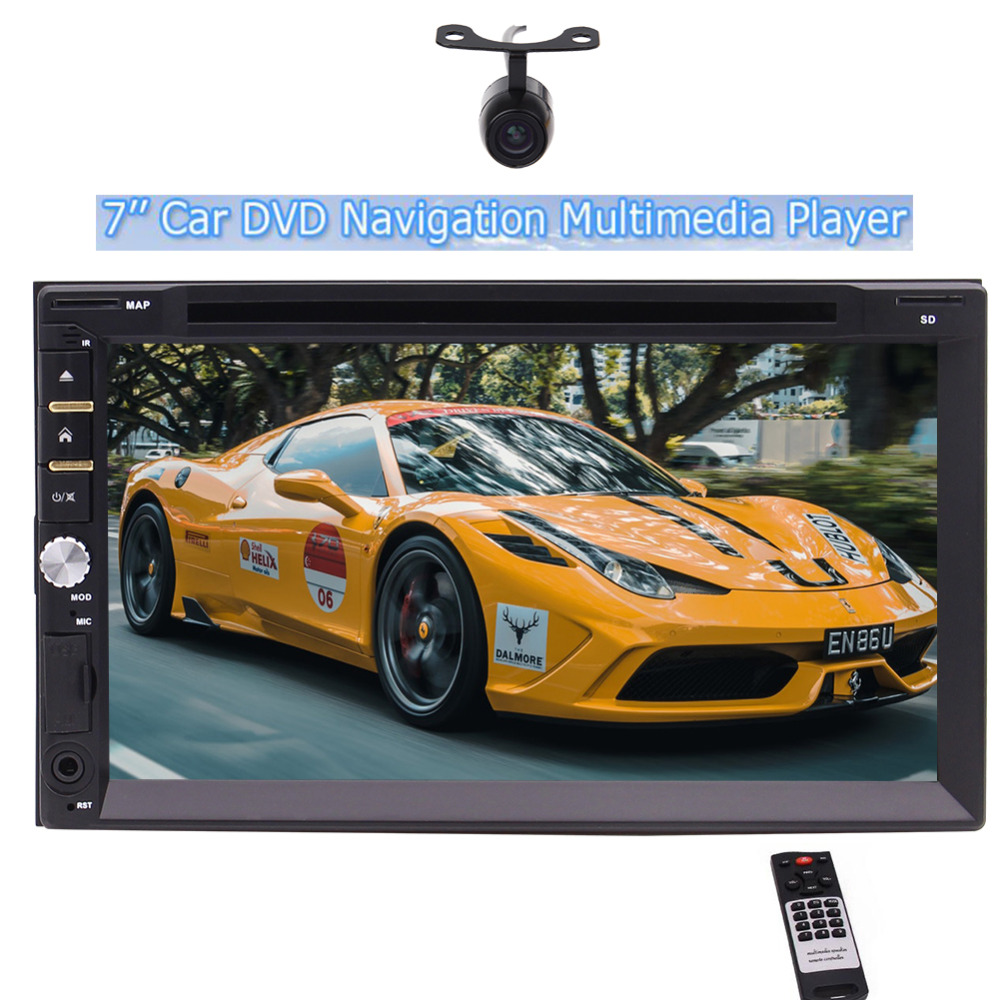 EinCar Backup Camera Double din Car DVD Player In dash 7inch Digital Touch Screen Head Unit No-GPS with FM/AM/RDS BT TF USB AUX joyous j 2611mx 7 touch screen double din car dvd player w gps ipod bluetooth fm am radio rds