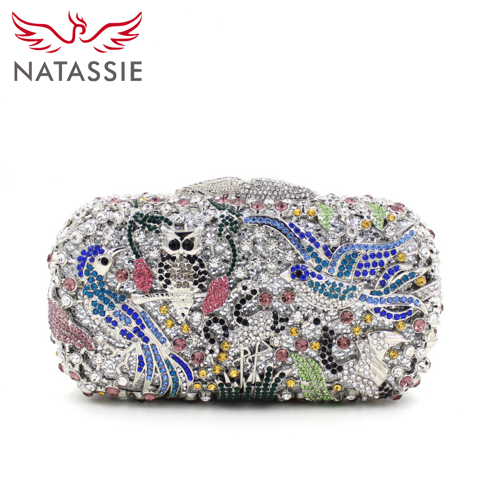 NATASSIE Crystal Clutch Bag Swallow And Floral Pattern Women Wedding Evening Party Clutch Purse Handbag Silver Sky Blue L1028 велосипед trek madone 2 1 2013