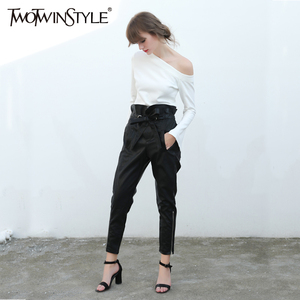 Image 5 - TWOTWINSTYLE Trousers for Women PU leather Female Pencil Pants Ruffle Lace up High Waist Fashion Clothes Large Big Sizes Autumn