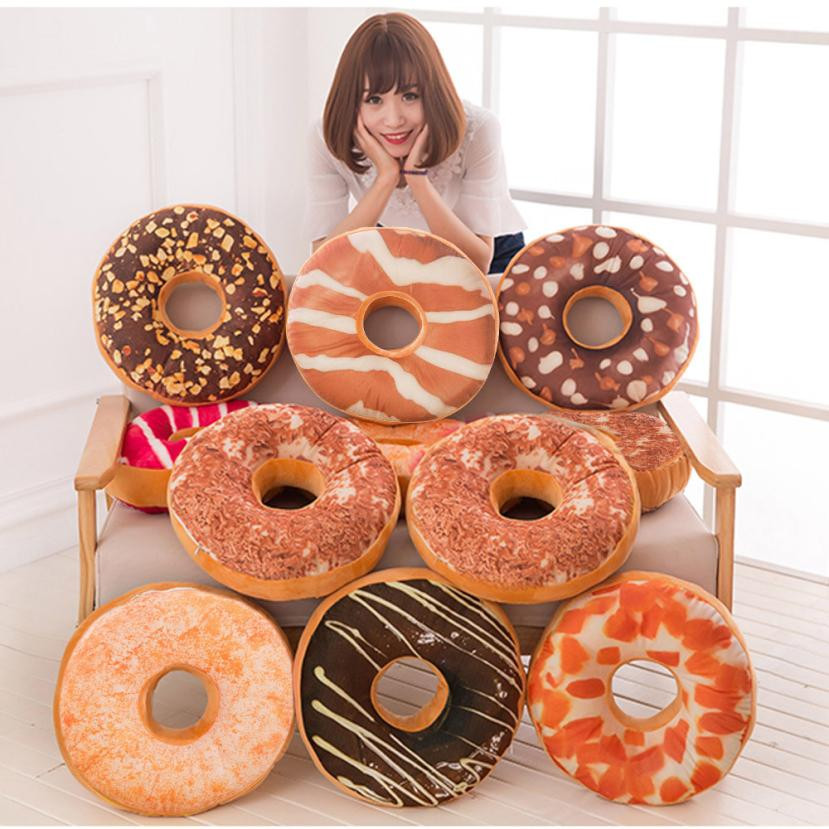 Cushion Cover Soft Plush Pillow Stuffed Seat Pad Sweet Donut Foods Case Toys u71020