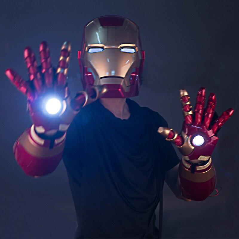 47 CM Iron Man MK42 gants casque portable avec Figurine légère poupées jouets PVC Figurine Action modèle à collectionner jouet enfants cadeau