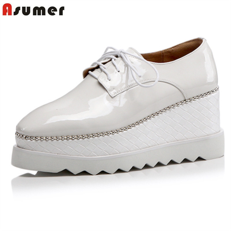 ASUMER SIZE 33-43 New Genuine leather shoes women pumps wedges high heels platform shoes ladies casual shoes white blackASUMER SIZE 33-43 New Genuine leather shoes women pumps wedges high heels platform shoes ladies casual shoes white black