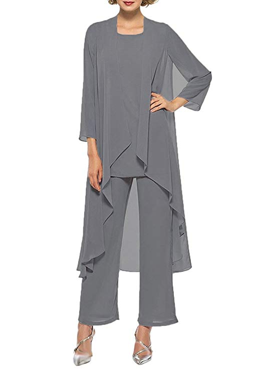 Women's Three Pieces Mother of The Bride Pant Suits with Long Jacket Custom Made Casual Mother of Bride Dress