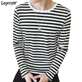 2017 New Mens T Shirt Fashion O-Neck Striped T Shirts Men Cotton Long Sleeve T-Shirt Casual Slim Tee Shirt 4XL 5XL