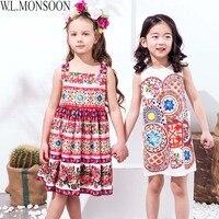 W L MONSOON Kids Dresses For Girls Clothes 2018 Brand Girl Summer Dress Princess Costume Printed