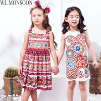 W L MONSOON Kids Dresses For Girls Clothes 2018 Brand Girl Summer Dress Princess Costume Printed