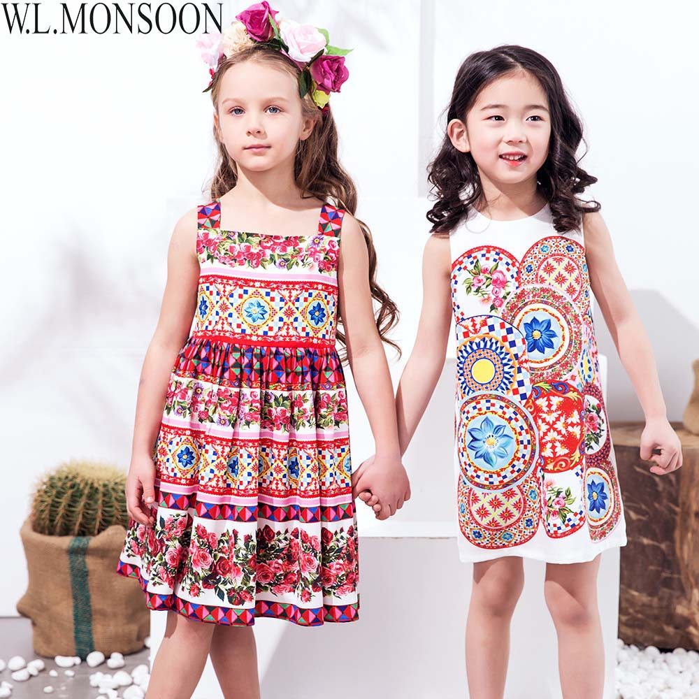W.L.MONSOON Kids Dresses for Girls Clothes 2018 Brand Girl Summer Dress Princess Costume Printed Robe Fille Children Dress 3-12Y children dress princess costume robe fille enfant cotton 2016 brand kids dresses for girls clothes poppy floral baby girl dress