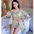women summer  harness womens pajamas red two-piece plus-size nightgown blue sexy loose gown lace up nightdress woman