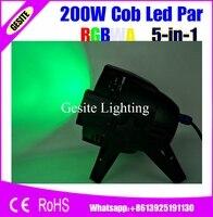 (2 pcs) led par luz dj dmx cob 200 w alto brilho led rgbwa 5 em 1 200 w cob led light par stage Strobe