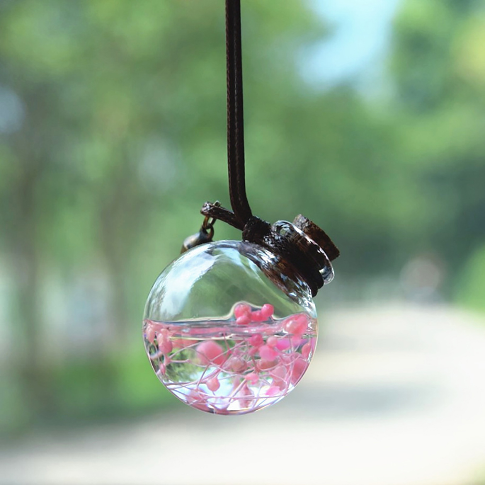 Car Perfume Bottle Pendant Air Freshener Empty Hanging Bottle For Essential Oils Scent With Flower Auto Ornament Without Perfume