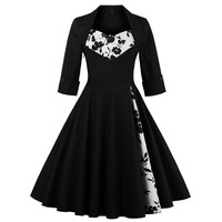 Womens Black Vintage Dress Printing Patchwork 50s 60s 70s Retro Style Pin Up Rockabilly Swing Wedding