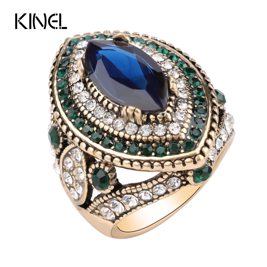 Luxury Vintage Jewelry Big Wedding Rings For Women Gold Color Mosaic Green  Crystal 2016 New Fashion