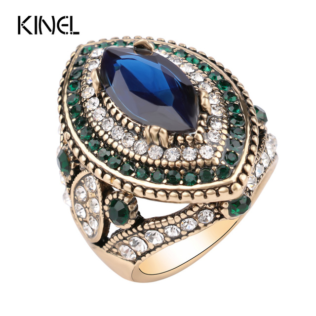 Luxury Vintage Jewelry Big Wedding Rings For Women Gold Color Mosaic Green Cryst
