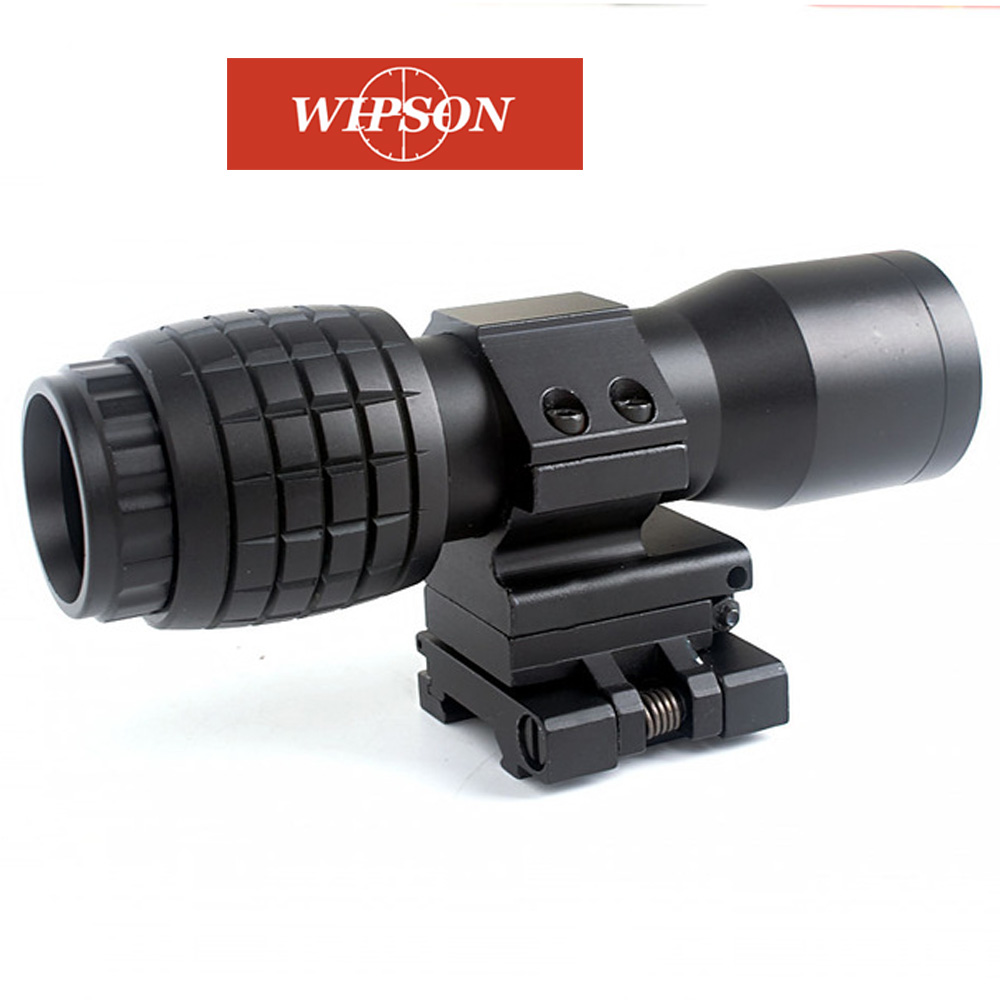 WIPSON Tactical Airsoft 4X Magnifier Magnifying Focus Adjusted With Flip Up Mount Scope For Hunting ShootingWIPSON Tactical Airsoft 4X Magnifier Magnifying Focus Adjusted With Flip Up Mount Scope For Hunting Shooting