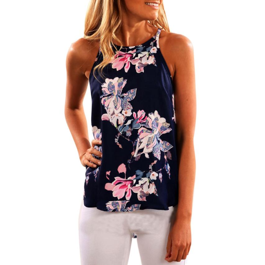 Women 2017 New Summer Sleeveless Flower Printed Tank Top Casual Blouse Vest Top Cropped Vintage De Verano Para Mujeres f1