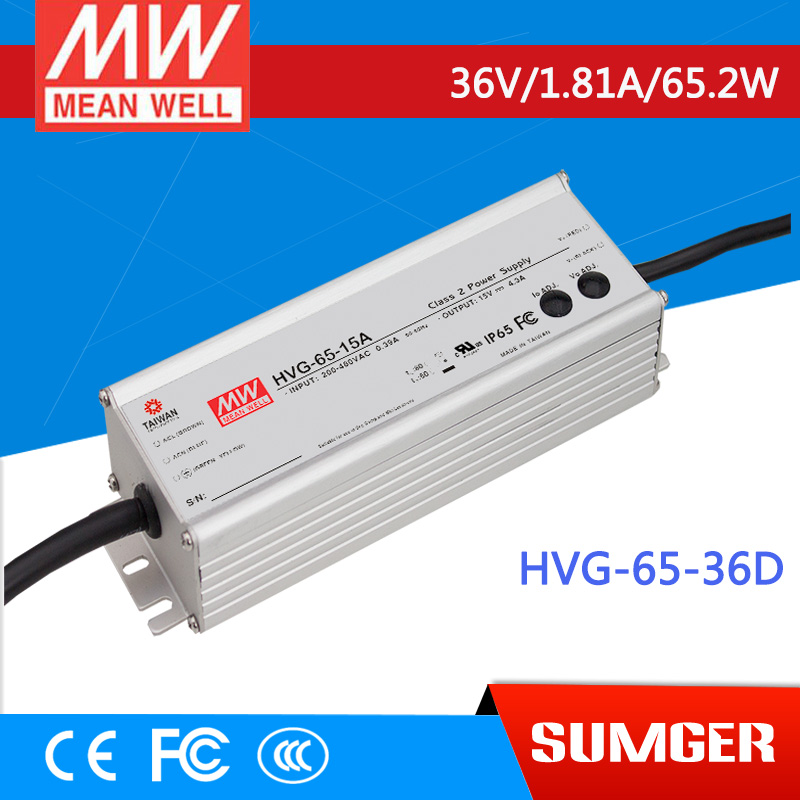 1MEAN WELL original HVG-65-36D 36V 1.81A meanwell HVG-65 36V 65.2W Single Output LED Driver Power Supply D type  [powernex] mean well original hvg 65 54d 54v 1 21a meanwell hvg 65 54v 65 3w single output led driver power supply d type