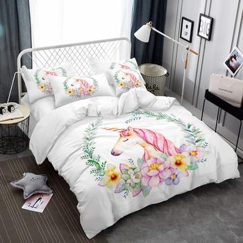 4pcs Girls Bedding Set Cartoon Unicorn Duvet Cover Flowers Plant Print Bed Sheet Pillowcase Elegant Bedclothes roupa de cama D20