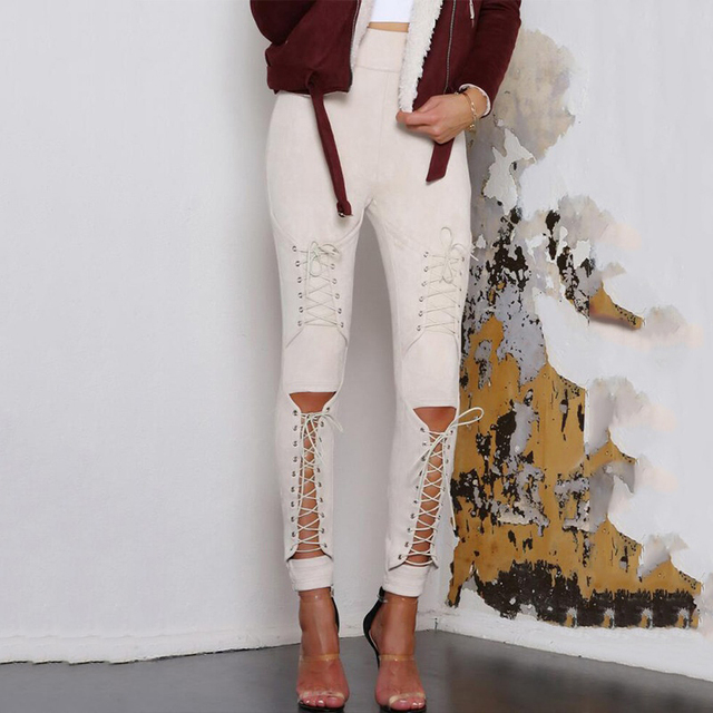 New Suede Leather Pencil Pants Lace Up Cut Out Fashion Trousers For Women Sexy Bandage Legging Pants Lace-Up Women's Pants 5