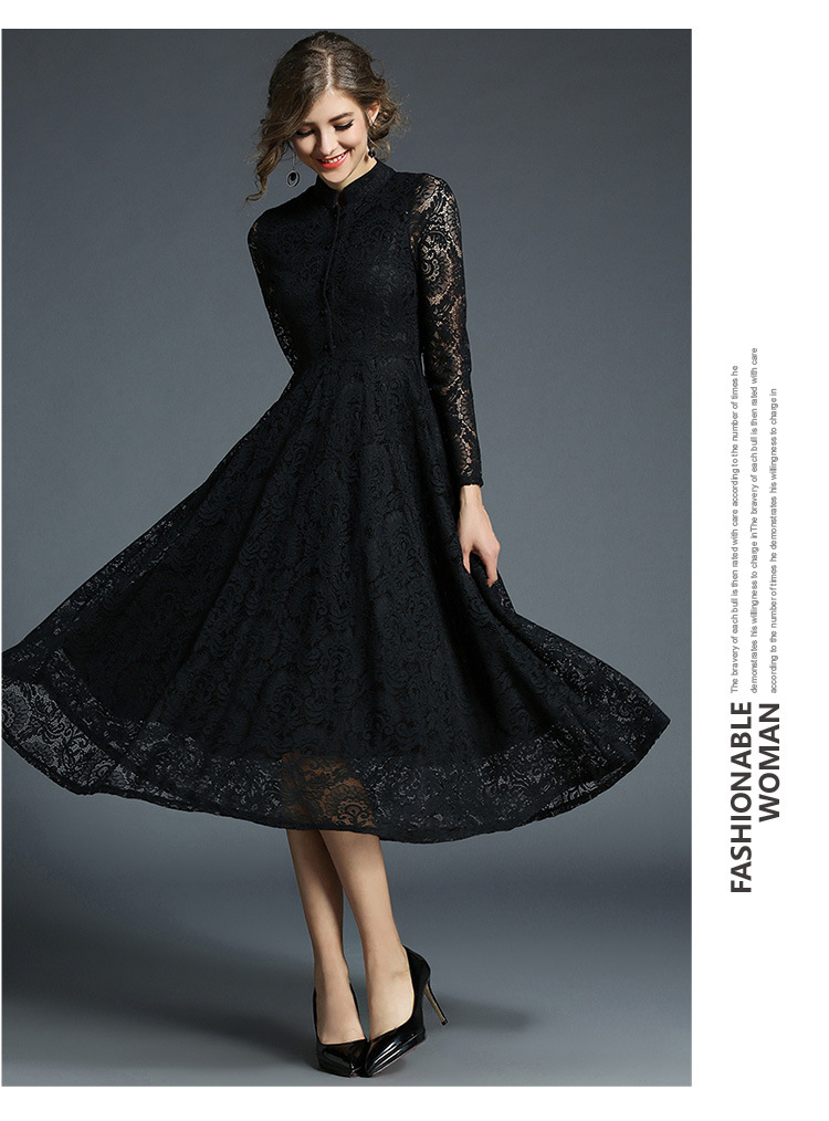 Stand Neck Long Sleeve Office Work Elegant Lace Dress 2