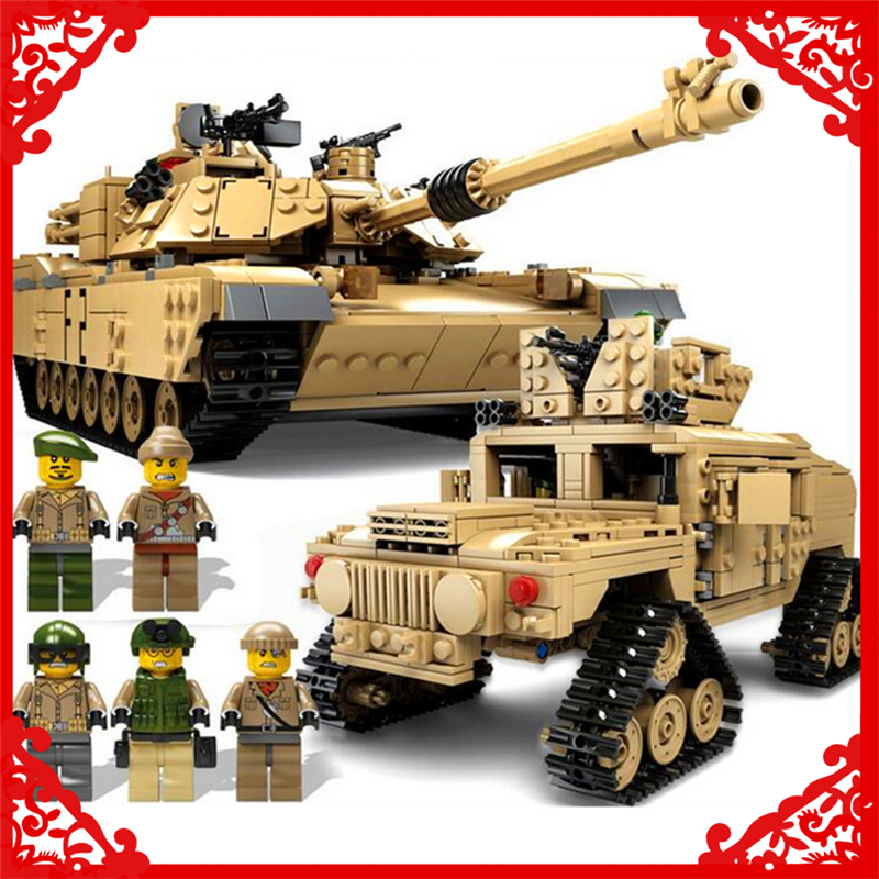 KAZI KY10000 2In1 Tank Hummer Army War Building Block Compatible Legoe 1463Pcs Toys For Children decool 7108 batman chariot superheroes bat tank building block 506pcs diy educational toys for children compatible legoe