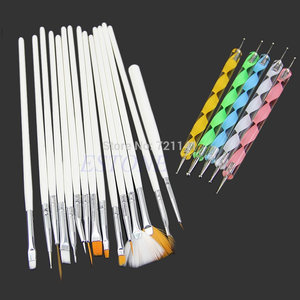 15Pc Nail Art Design Brushes + 5Pc Dotting Painting Drawing Polish Pen Tools Kit