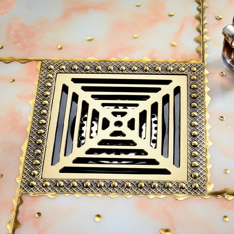Shower Drain 15cm Euro Antique Brass Floor Drain Cover Shower Square Waste Grate Strainer Hair Bathroom Bath Accessories