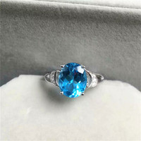 925 Sterling Silver Large Natural Topaz Gemstone Ring For Women Engagement Party Ring Gift Blue Ring