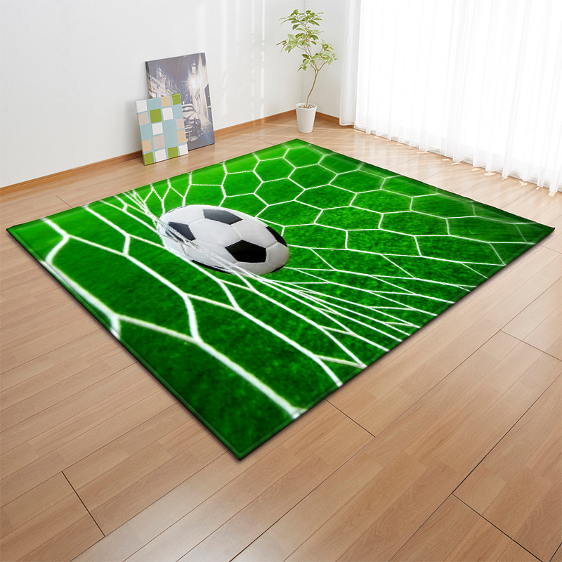3D Carpets Soft Flannel Football Printed Area Rugs Parlor Basketball Mat Anti-slip Large Carpet For Living Room Tea Table Decor