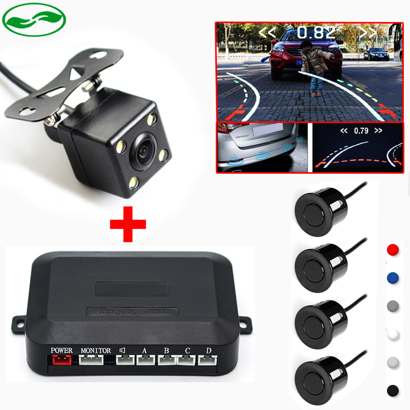 Car Video Trajectory Parking Assistance System, CCD Intelligent Reversing Trajectory Rear View Camera + Video Parking Sensor 3in1 car video reversing radar parking sensor with intelligent trajectory rear view camera and hd 4 3 car mirror monitor