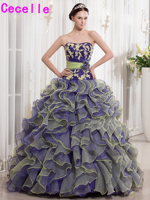Purple Yellow Ball Gown Quinceanera Dresses 2019 Sweetheart Ruffles Organza  Beaded Lace Corset Girls Formal Prom Party Gowns 63fc4a2eae0b