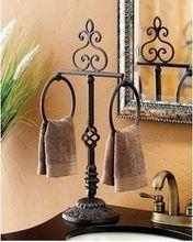 Wrought iron towel rack, Vertical towel towel ring bathroom sink towel rack