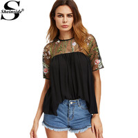 Sheinside Mesh Shoulder Tops 2017 Embroidery Floral Blouse Black Patchework Women Smock Summer Tops Buttoned Keyhole Back Blouse