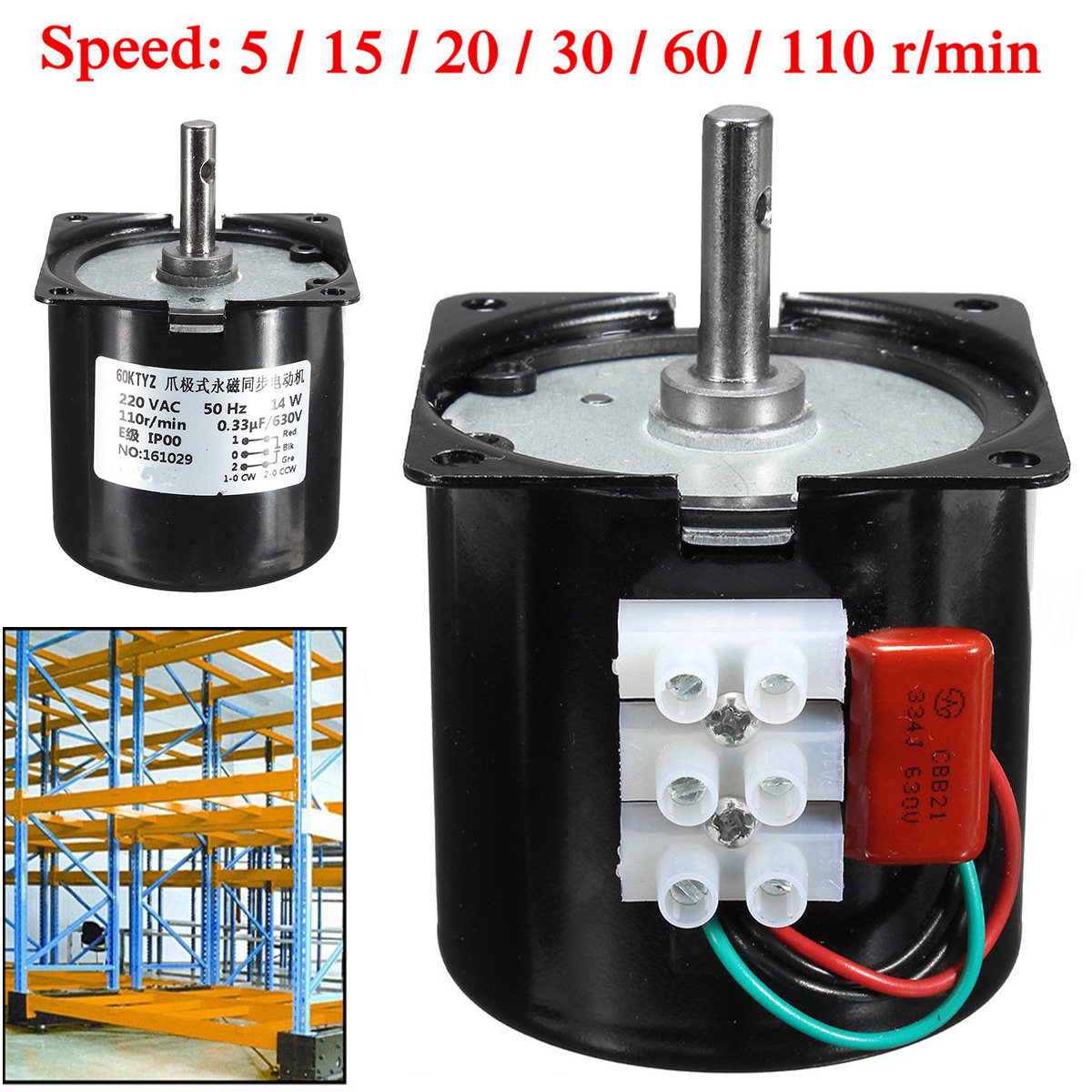 Replacement High Torque 50Hz 60KTYZ Synchronous Gear Motor Gear-Box AC 220V 14W with High Strength