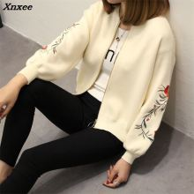 Xnxee 48 new spring large size women embroidered sweater long sleeve zipper cardigan coat