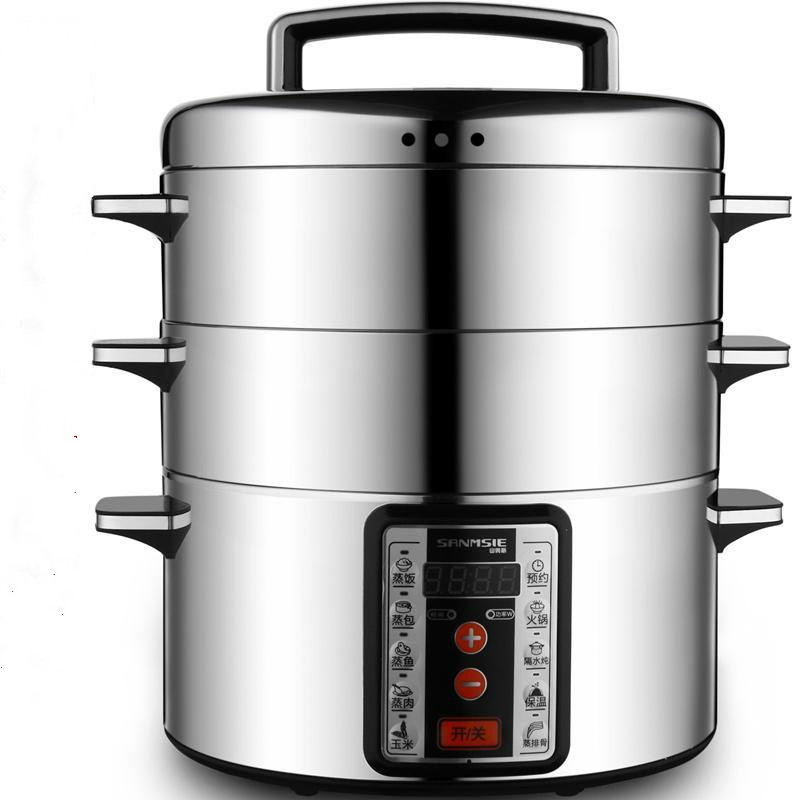 Stainless Steel Multifunction Large Capacity 16 Litre Three Layers Steamer Of 32cm Electric Steaming Pot