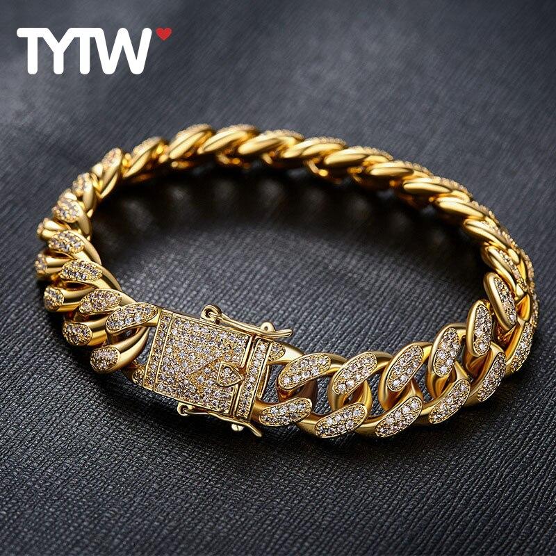 TYTW hommes hip-hop mode Bracelet avec Rhodium 18 kGold plaqué personnaliser Street Dance 7 pouces homme Cool élégant Zircon Pave Bracelet
