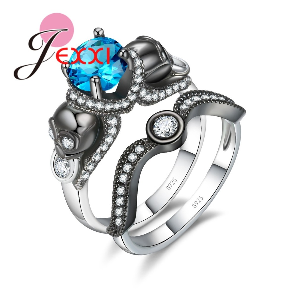 JEXXI Couple Rings Mixed Color Blue Zirconia 925 Sterling Wedding Rings For Female Antique Jewelry Gift Valentines Day present