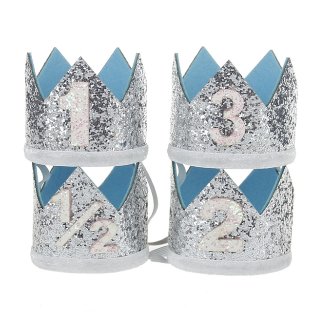 1 Pcs Set Lovely Boy Blue Silver First Birthday Hat Girl Gold Pink Priness Crown