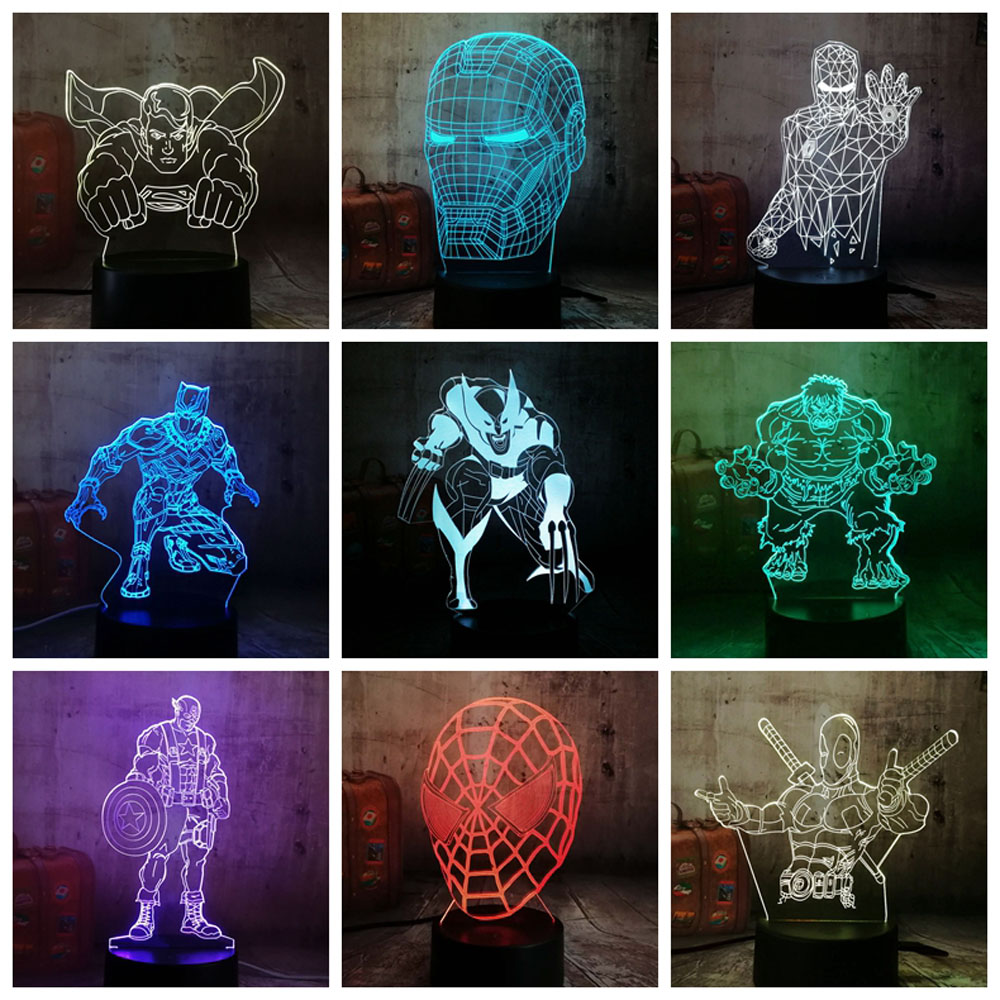 Cool Marvel Super Hero Spider iron Man Hulk Deadpool 3D LED Lamp Night Light Multicolor RGB Bulb Christmas Decor Kids Gift Toys