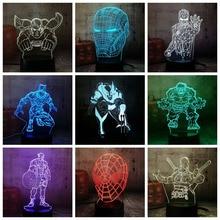 Cool Marvel Superheroes 3D LED Lamp Light Multicolor RGB Bulb Christmas Decor
