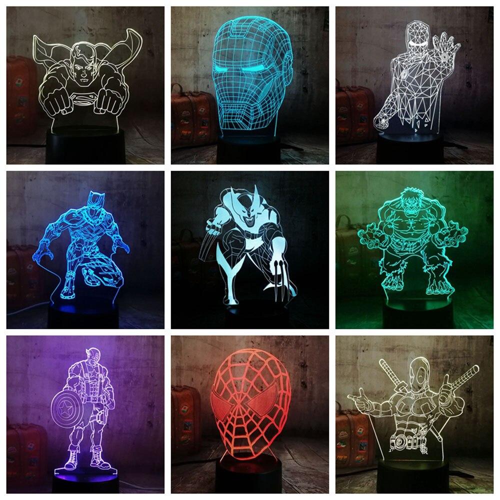 Kühle Marvel Super Hero Spinne iron Man Hulk Deadpool 3D LED Lampe Nacht Licht Mehrfarbige RGB Birne Weihnachten Decor Kinder geschenk Spielzeug
