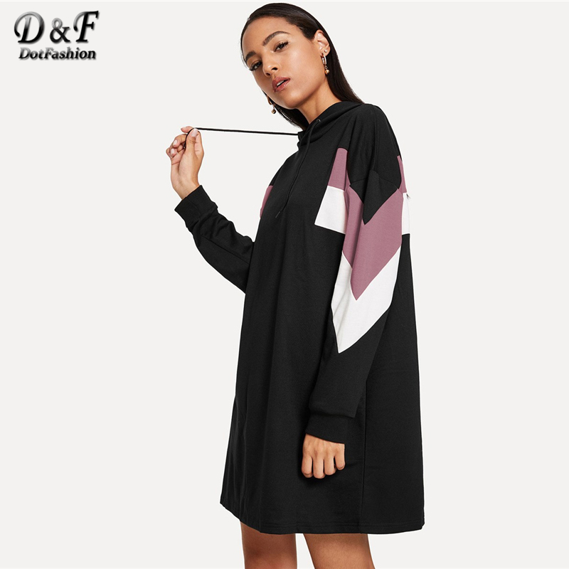 e95a14d7f0b Dotfashion Drawstring Hoodie Colorblock Sweatshirt Dress Women Clothes 2019  Autumn Casual Hooded Long Sleeve Straight Dress
