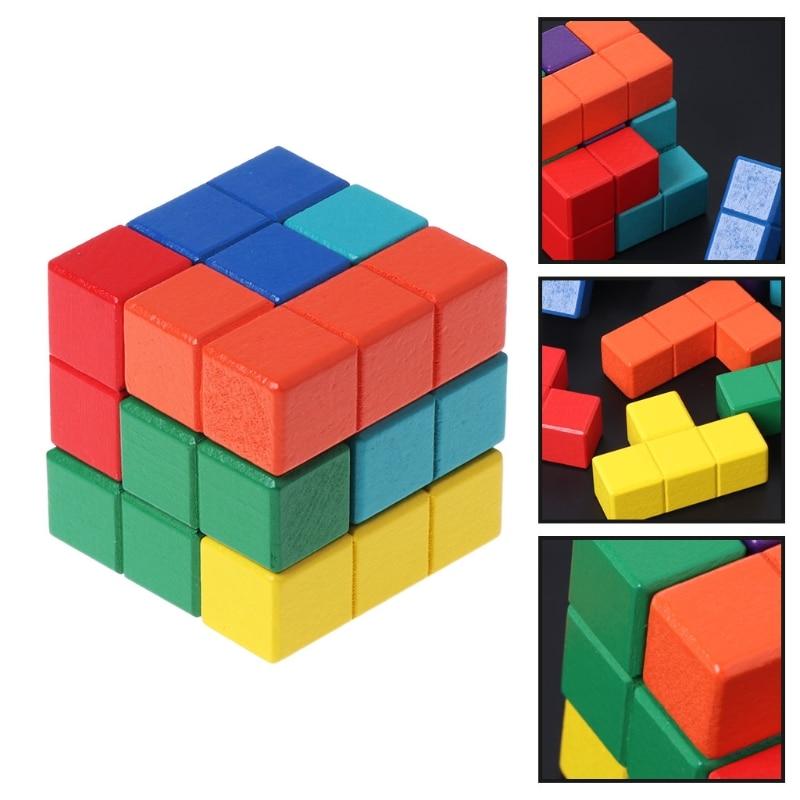 High Quality Tetris Magic Cube Multi-color 3D Wooden Puzzle Educational Brain Teaser Game JUN5-B