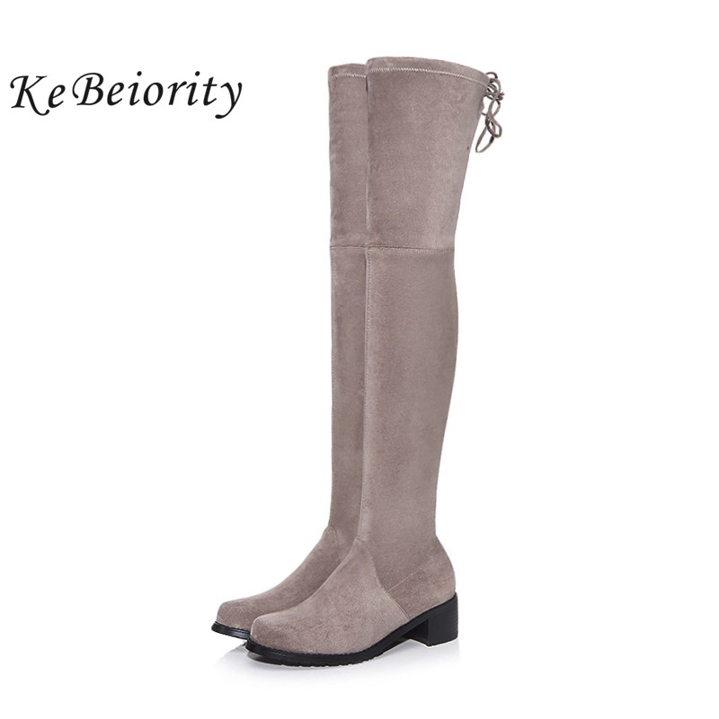 KEBEIORITY Fashion Long Boots Women Thick Heel High Heels Over the Knee Boots Female Autumn Winter Sexy Black Grey High Boots famso size34 43 2017 new sexy women boots black autumn over the knee boots high heels red shoes winter female snow boots sbt2972