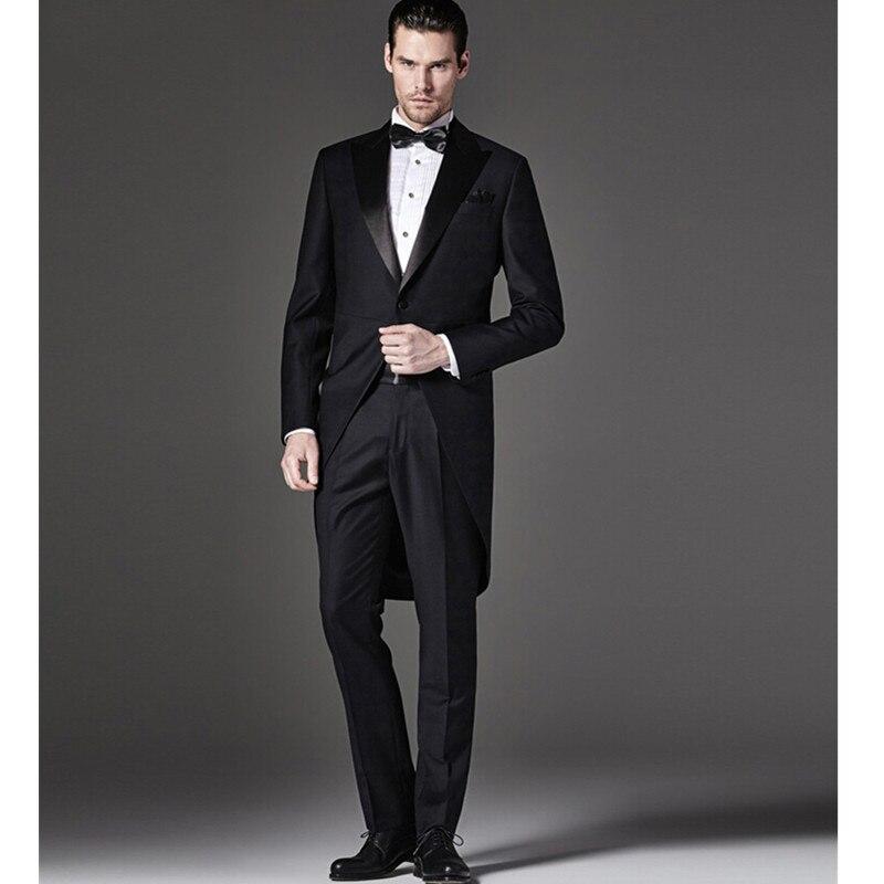 Groom Tuxedos Dovetail Suit Slim Fit Custom Made Groomsmen Best Man Men Wedding Dovetail Suit Prom Formal Tuxedos( Jacket+Pants)