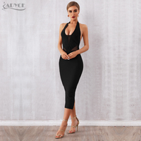ADYCE 2019 New Summer Women Bandage Dress Vestido Sexy Black Halter Backless Deep V Bodycon Club Dress Hot Celebrity Party Dress